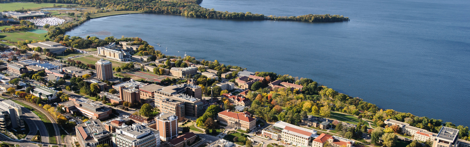 The central and lakeshore area of the University of Wisconsin-Madison campus is pictured in an aerial view during the autumn season.